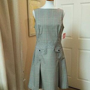 Issac Mixrahi, NWT 14,multi color sm.plaid dress.